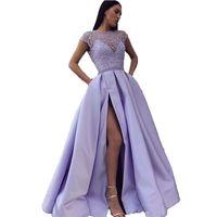 gala kadın elbiseleri toptan satış-Leylak Uzun Gelinlik Modelleri 2020 Vestidos De Fiesta Gala Bölünmüş Örgün Akşam elbise Kadınlar Konuk Parti Mezuniyet Yemeği Elbise Saten