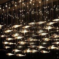 освещение люстр рыб оптовых-Современный Стеклянный Fly Fish Потолочный Светильник Swarm Fishes Люстра Гостиная Свет Кристалл Коньяк Цвет Рыбы Потолочные Светильники