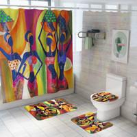 желтые подушки сиденья оптовых-Cilected 4pcs / Set экзотический стиль душ занавес ковер ванная комната водонепроницаемый занавес подушка сиденья унитаза скольжения ковер с 12 крючками