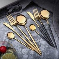 facas de jantar facas venda por atacado-Aço Inoxidável Louça Espelho Faca Gold Meal garfo colher de chá colher talheres simples requintados cutleries Jantar ocidentais 4 cores HHA690