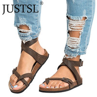 sandalias planas de hebilla de cinturón al por mayor-JUSTSL 2018 verano mujer sandalias de pedal de fondo plano feminina hebilla de cinturón zapatos comodidad femenina sandalias romanas más tamaño
