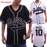 películas xxl al por mayor-Mens Bad Boy # 10 Biggie Smalls Jersey negro La notoria película Botones de película de béisbol cosidos en blanco Camisetas de béisbol Tamaño S-3XL