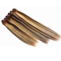 extensões de cabelo misturadas 1b venda por atacado-O cabelo reto misturado remonta o cabelo peruano brasileiro das extensões do cabelo humano do indiano 100% do cabelo de Remy cor 1B / 27 8-28 polegadas