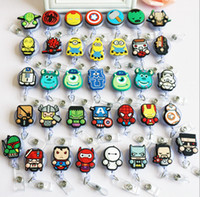 Wholesale retractable clip for id cards resale online - Cartoon Mini Iron Man Badge Holder Retractable ID Badge Reel with Belt Clip for ID Card Badge Holder Tag Office Stationery