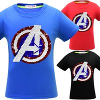 Wholesale double standard clothing for sale - Group buy 3 Colors Avengers Endgame T shirts Kids Sequins Boys Cotton Tee Shirt Short Sleeves Double Sequin Clothes Home Clothing CCA11672