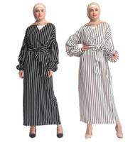 ingrosso abiti islamici bianchi neri-Donne Abaya Kimono Dubai Turchia Bangladesh Abbigliamento islamico Caftano Arabo Caftano Nero Bianco a righe Maxi Fasciatura Abito musulmano