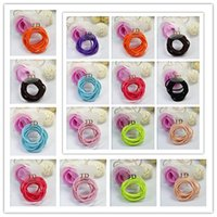 Wholesale girls hair accessories dhl resale online - 10pcs pack JD Scrunchies Colorful Rubber Hair Rings Womens Girls Ponytail Holder Small Circle Elastic Bands Ropes Hair Accessories DHL D3602