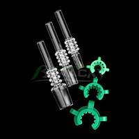 néctar coletores quartzo venda por atacado-10 milímetros 14 milímetros 18 milímetros de quartzo Dica Com Keck Clips Para Mini Nectar Collector Kits Quartz Dicas para tubos de vidro Água Bongos Dab plataformas petrolíferas