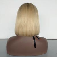 chinesische reine remy spitzeperücken groihandel-Großhandel Jungfrau-Menschenhaar Blonde Bob Perücke Chinese Remy Hair # 4/613 Kurzhaar Perücke Spitze vor Verkauf