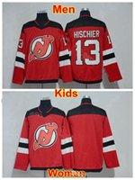buz hokeyi formalarını gençler toptan satış-Erkekler Lady Gençlik New Jersey Devils Formalar Kadınlar Nico Hischier Jersey 13 Çocuklar Buz Hokeyi Erkek Takımı Renk Kırmızı Spor Yüksek Kalite