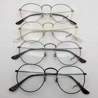 runde schwarze rahmen für gläser großhandel-3447v Neue Designer Frau Brille Optische Rahmen Metall Runde Brillengestell Klare Linse Brillen Schwarz Silber Gold Brillenglas