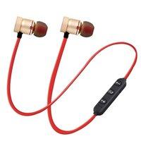 bas paketi toptan satış-Kablosuz Bluetooth Kulaklık Metal Manyetik Stereo Bass Kulaklık Kablosuz Sport Kulaklık Kulaklık Mikrofon ile Perakende Paketi
