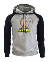 Wholesale anime sportswear resale online - 2018 Autumn Winter Fleece Brand Clothing Men s Sportswear One Punch Man Hero Saitama Oppai Anime Raglan Hoodies Harajuku