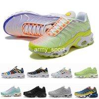 zapatos de cuero amarillo al por mayor-Nuevos colores Tn Plus Ultra Se Running Shoes For Leather Hombres Mujeres Tns arco iris Negro Blanco para mujer para hombre diseñador Deportes zapatillas de deporte 36-46 Eur