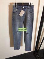 kız fermuar kot toptan satış-2019 Kadınlar Koşu Pantolon Rhinestone Gevşek Denim Delik Ile Yüksek Kaliteli Kızlar Pantolon Fermuar Fly Jeans Pantolon