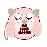 sevimli baykuş cüzdanları toptan satış-Kadın Kızlar 3D Baykuş Sikke çanta Sevimli Karikatür Mini Cüzdan Çanta Anahtarlık Zinciri ile Küçük Cepler Debriyaj Cüzdan Çanta