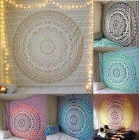 tapisserie jacquard achat en gros de-Mandala Tapisserie indienne Tenture murale Bohème Polyester Yoga Tapis de châle Mandala Tapisserie Hippie Tapisserie indienne KKA6820