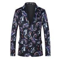 yeni tasarım erkek blazer toptan satış-Çiçek Erkekler Blazer Tasarımlar Moda Rahat Çiçek erkek Takım Elbise Ceket Smokin Erkek Takım Elbise Blazers Ince Yeni Casaco masculino