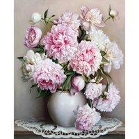 el boya pembe çiçekler toptan satış-Çerçevesiz Avrupa Pembe Beyaz Çiçek Numaraları Tarafından DIY Boyama Benzersiz Hediye Akrilik Numaraları El Boyalı Wall Art Resim