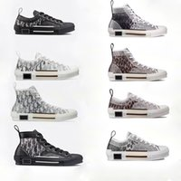 leopar tepeleri toptan satış-B23 Yüksek Top Eğik Sneakers B23 düşük üst Eğik sneaker Moda B23 Sneakers Erkekler Kadınlar Vintage Trainer Marka Ayakkabı Leopard