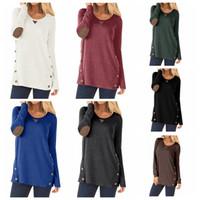 camisas de remo venda por atacado-Mulheres Casuais Camisa de mangas Compridas em torno do pescoço Camiseta Tee Tops linha dupla botão Pullover patchwork T-shirt clothing LJJA2678