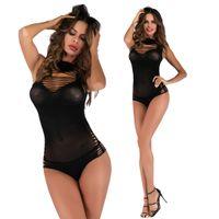 body sexy en lingerie une pièce achat en gros de-Body en résille pour femme creux trou voir au travers d'une seule pièce mini lingerie sexy robe