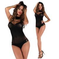 lingerie ver através fishnet venda por atacado-Fishnet Lingerie Bodysuit para Mulheres Oco Out Buraco Ver Através de Uma Peça Mini Lingerie Chemise Vestido Sexy
