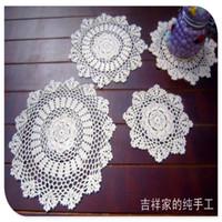 Wholesale cotton lace home decor resale online - cm pic cotton crochet lace doilies for home decor felt for wedding cup pads placemat napkin mat felt