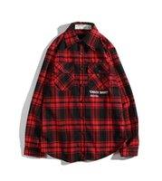 cardigans vermelhos mens venda por atacado-Mens nova camisa cardigan marca maré OW vermelho homens e mulheres camisa impressão Pares ocasionais xadrez