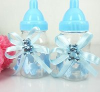 Wholesale baptism baby box for sale - Group buy 12pcs Candy Fillable Box Bottle Bear Ribbon Baby Shower Baptism Christening Birthday for Craft Party Decorations