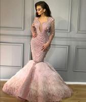 3d78aef5142ee Robe de soirée Yousef aijasmi Kim kardashian Charble Elie saab Bébé Rose  Plume Perles De Sirène V = Cou Manche Longue Zuhair murad 101