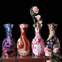 katlanır çiçek vazolar toptan satış-Plastik Katlanır Saksı Yaratıcı Masaüstü Vazolar Ev Düğün Ev Yenilik Öğeleri Bahçe Pot Dekor PVC Katlanır Vazo YENİ GGA1922