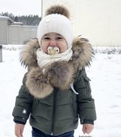 ingrosso giacche 2t-Nuovo magazzino! Moda Autunno Inverno giacca di pelliccia di procione per ragazze Ragazzi Giacca per bambini Bambini Cappuccio con cappuccio Capispalla caldo Cappotto per ragazzo Vestiti 2-9 anni