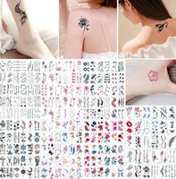 mélanger des tatouages autocollants achat en gros de-Tatouages Temporaires Autocollant Fleur Animail Tatouage Instantané Body Art Bras Imperméable Faux Papier Tatoo Gros Mix Patterns