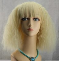 perruques avant en dentelle blanche achat en gros de-SHIPPIN GRATUIT + + + Full Lace Wigs Front Lace blanc perruques de cheveux bouclés de mode