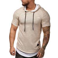 kapüşonlu kısa kollu gömlekler toptan satış-Yaz Kapşonlu Erkekler Tişörtlü Moda Kısa Kollu Hoodie T Gömlek Erkek İnce Spor Tee Artı boyutu M-3XL Tops