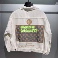 elmas saplı kovboy toptan satış-2019 Kadınlar Boy Vintage Jersey Lüks Tasarımcı Mektup Taklidi Denim Bombacı Uzun Kollu Ceket Kadın Pist Gevşek Kovboy Ceket Tops