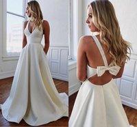 marfim casamento cetim vestidos vintage venda por atacado-Elegante Linha A Decote em V Longo Vestidos de noiva de cetim com bolsos Personalize Vestidos de noiva em marfim Brautkleid Vestidos formais