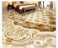 ingrosso carta da parati dorata di lusso-Personalizzato 3D PVC autoadesivo pavimento foto murale carta da parati High-end di lusso oro decorazione della casa pietra rosa mosaico 3D pavimento impermeabile