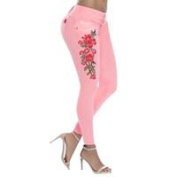 2beea357d96310 farbige jeanshosen größe großhandel-2019 frauen Stretch Midi Taille Jeans  Dünne Stickerei Jeans Blumendruck Denim