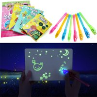 Wholesale tablet toys resale online - Educational Toy Drawing Board Tablet Graffiti pc A4 A3 Led Luminous Magic Raw With Light fun