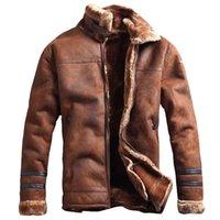 klasik askeri ceket erkekler toptan satış-Erkekler için Hava Kuvvetleri Askeri Stil Kış Kalın Bombacı Ceket Erkek Kürk Faux Deri Ceket Kaban Streewear Rus Sıcak Palto