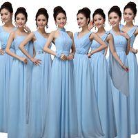Wholesale chiffon diamonds for sale - Group buy Wedding guest dress hot chiffon diamonds A Line style sky blue Junior bridesmaid dresses long vestido
