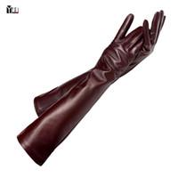 Wholesale long sleeve mittens resale online - winter lady fashion sheepskin leather gloves women genuine leather mittens female long styleArm sleeve T200111