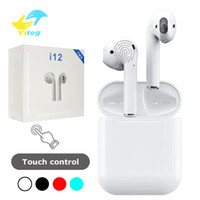 Wholesale Bluetooth Headphones - i12 tws bluetooth 5.0 wireless bluetooth headphones ture stereo Earphones colorful touch control wireless headset earbuds with charger box