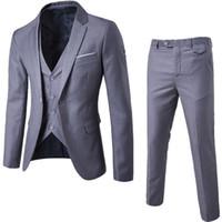 erkek 4xl yelek toptan satış-Mens 3 Parça Blazers Pantolon Yelek Sosyal Takım Elbise Erkek Moda Katı Business Suit Set Ince Erkek Formale Artı Boyutu Suits