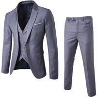 ingrosso blazer button set-Mens 3 pezzi Blazer Pants Vest Social Suit Uomo Moda Solid Business Suit Set Thin Uomo Abiti formali Plus Size