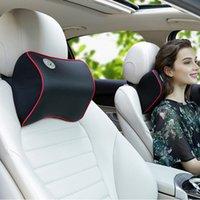 Wholesale car head neck rest pillow resale online - Comfortable Car Leather Foam Cushion Space Auto Neck Headrest Neck Rest Super Soft Cover Memory Head Pillow Seat