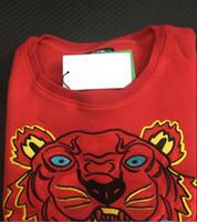 suéter largo de tigre al por mayor-hombre mujer suéter bordado de la cabeza del tigre de alta calidad de la manga larga del O-cuello del suéter de los Hoodies puente mejor calidad Rojo S-XXL