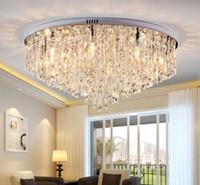 decoração do quarto de cristal venda por atacado-Lustre de Cristal moderno Iluminação Flush Mount Lustres de Luz para sala de estar Sala de Jantar Quarto Hall Restaurante Decoração Do Hotel